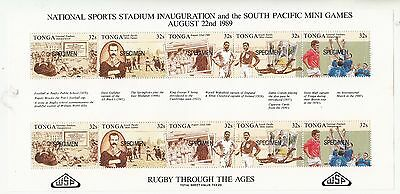 Tonga 1989 RYGBY Through The Ages sheetlet overprinted SPECIMEN. MUH/MNH.Scarce