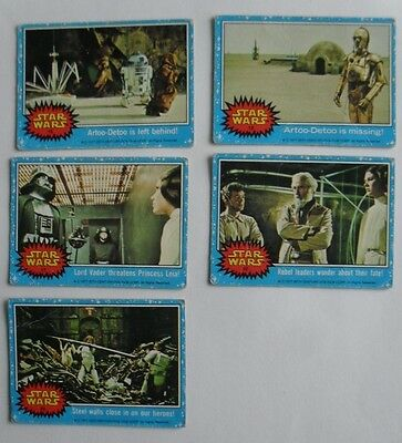 Star Wars 1977 Bubble Gum Trading Cards Lot Carrie Fisher Harrison Ford Darth
