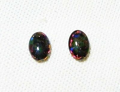 "Opal Triplet Cabochons (Lambina) 2Pcs 7 X 5Mm 1.3Ct ""new"" Auz Seller C129"