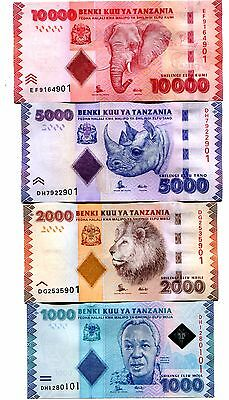 TANZANIA 1000 2000 5000 10000 SHILLINGS ND(2015) P-41b-44b UNC FULL SET 4 PCS