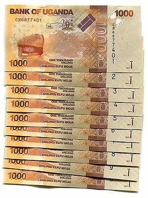 UGANDA 1000 SHILLINGS 2017 P-49e UNC LOT 10 Pieces (PCS)