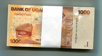 UGANDA 1000 SHILLINGS 2017 P-49e UNC BUNDLE 100 Pieces (PCS)