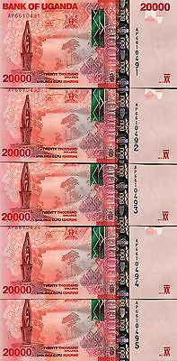 UGANDA 20000 SHILLINGS 2013 P-53b UNC LOT 5 PCS