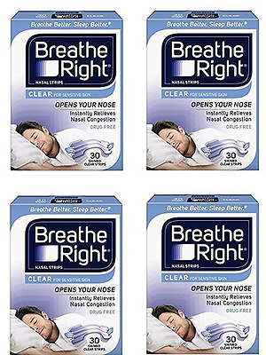 5 X Breathe Right Nasal Strip Clear Lrg 30 (150 Total) Value Buy! Free Delivery