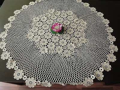 Lovely Vintage Handmade Cotton Crochet Ecru Round Floral Tablecloth