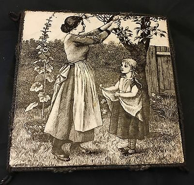 "Minton's Victorian tile 6"" square Village life in black C1882 William wise"