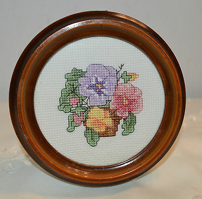 Small, Round, Framed Counted Cross stitich Cross Stitched Pansies / Flowers