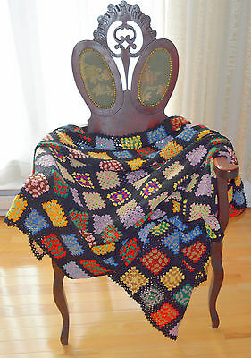 Antique Hand Crafted Crochet Afghan / Throw Multi-Colored Granny Squares