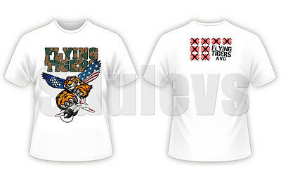 WWII Chinese Air Force flying tigers AVG white T-shirt