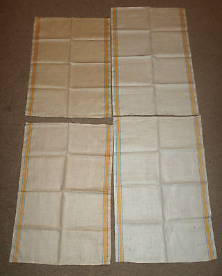 Vintage Linen Toweling Fabric Yellow/BLUE Stripe on Cream 2.9 Yds (4) TOWELS LOT