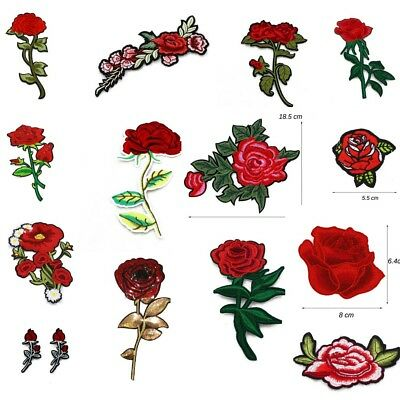 40pcs New DIY Embroidered Flower Applique Iron On Sew On Patch Clothing Peony