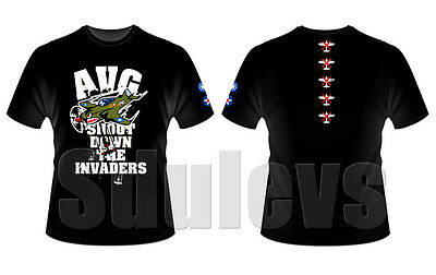 WWII Chinese Air Force flying tigers AVG black T-shirt