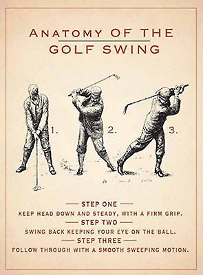 """Anatomy of the golf swing -  Vintage style repo metal wall sign 8"""" X 6"""""""