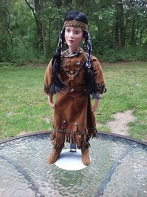 Porcelain Doll 16in Native American Indian Princess W Faux Suede Leather Dress