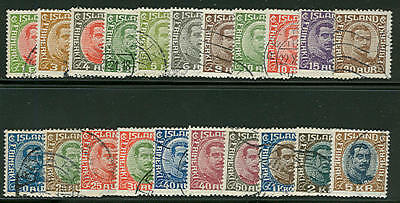 ICELAND #108-28 Chr. X complete set used, F/VF