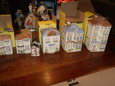 5 AVON TOWNEHOUSE SERIES Victorian CANISTERS w/ salt peppers COOKIES with boxes!