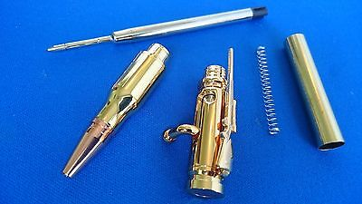 Woodturning Pen Kits BOLT ACTION or Lock & Load BULLET Gold/Chrome/Gun Metal