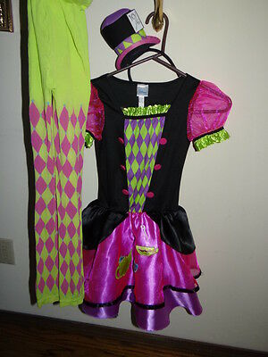 Mad Hatter Costume Dress, hat, tights set. Girls size approx 8-10 Washed Pressed