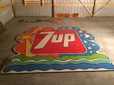 12' x 12' 7up Peter Max Sign 3 Piece 1960's Woodframed Back NOS