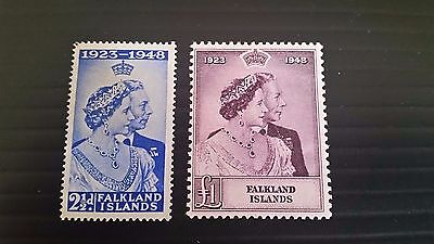 Falkland Islands 1948 Sg 166-167   Royal Silver Wedding Mnh