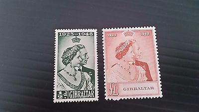 Gibraltar 1948 Sg 134-135 Royal Silver Wedding  Mnh