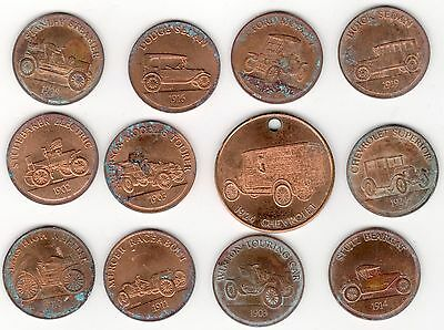 Vintage 1968 Sunoco Series 11 Antique Car Coins + 1 National Beer 1924 Chevrolet