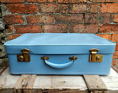 Gorgeous Vintage Suitcase Travel Case Storage Box Prop Display Blue Mid Century