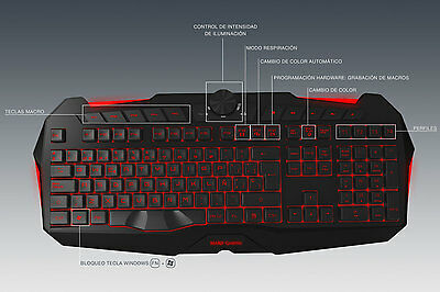Mars Gaming MK215 - Teclado gaming retroiluminado 7 colores, LED, USB, teclados