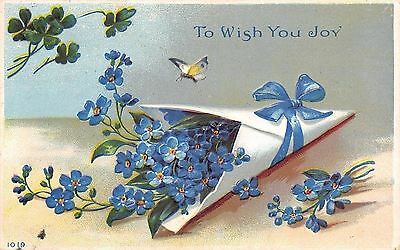 Blue Forget-Me-Nots in White Florist Paper Cone Wrap~Ribbon~Butterfly~Embossed
