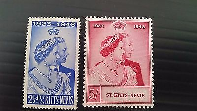 St,kitts-Nevis 1949 Sg 80-81 Royal Silver Wedding  Mnh