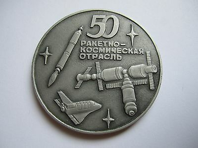 """Soviet Space Program Table Medal """"50 years of Rocket and Space Industry"""""""