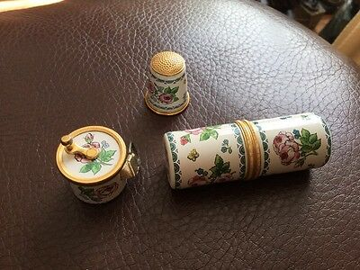 Halcyon Days Enamels Sewing Trio Set - Thimble/needle holder/tape Very Rare