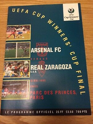 1995 Cup Winners Cup Final Programme Arsenal V Real Zaragoza