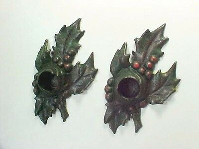 Green Cast Iron Holly Candle Holders w Red Berries: Lulu Verharen Lavell 1921