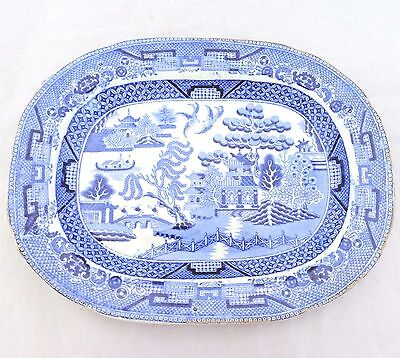 Antique Victorian Small Blue & White Willow Pattern Pottery Platter c 1860
