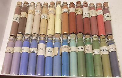 "28 vtg 2"" tall glass Vials China Paint Powder for Porcelain Dolls Dishware FULL"
