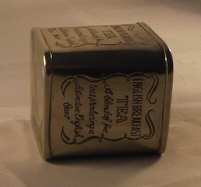 Vintage Caddy No 5 - Silver plated brass square tea canister