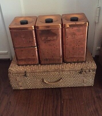 Lincoln Beautyware Vintage Copper Canisters Flour Sugar Coffee & Tea Used