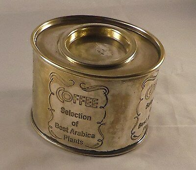 Vintage Caddy No 6 - Silver plated brass oval coffee canister