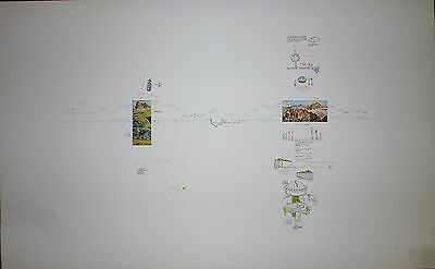 Gianfranco Baruchello sérigraphie et collage signée 1974 art abstrait  abstract