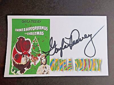 """""""I Want A Hippopotamus For Christmas"""" Gayla Peevey Autographed 3x5 Index Card"""