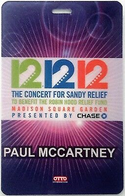 PAUL McCARTNEY - BEATLES - LAMINATED BACKSTAGE PASS - SANDY RELIEF CONCERT 2012