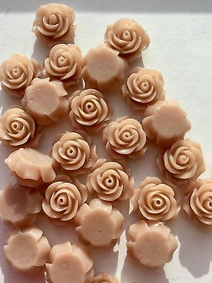 25PCs Resin Dusky Rose Flower Flatback Embellishments Wedding Scrapbooking 14mm