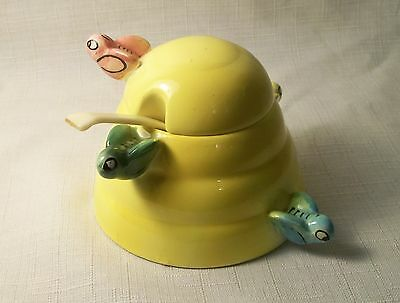 VTG 3 PIECE YELLOW FIGURAL BEE SET HONEY JAR W/ SPOON MENSCHIK GOLDMAN JAPAN 50s