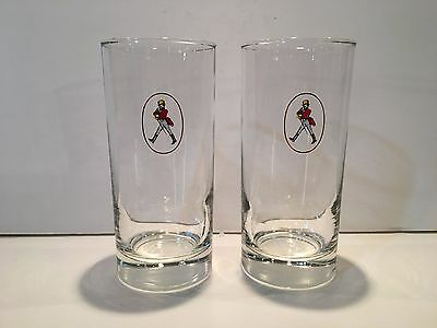 """Two (2) Johnnie Walker Whiskey / Whisky Glasses - 5 1/4"""" Tall"""