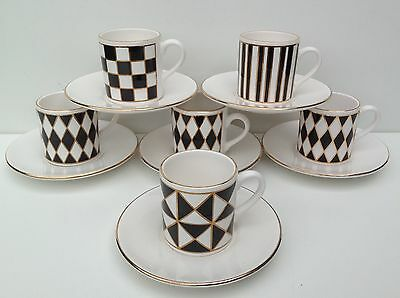 Six Hornsea Pottery Silhouette Espresso Cups and Saucers.
