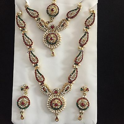 Red Green Gold Indian Costume Jewellery Necklace Earrings Pearls Crystal Set New
