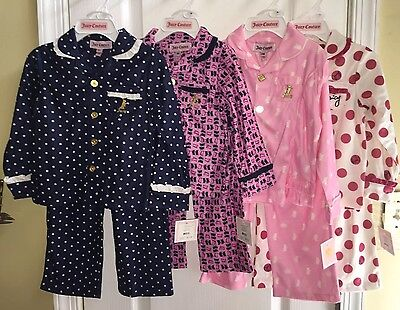 NWT Juicy Couture Toddler Baby Girls Sleep Set Flannel Fleece Scotty Dog Pajamas