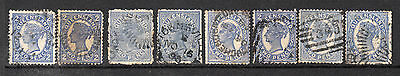 Australia States - Queensland. Lot of 8 2d Blues Used & Uncheckd