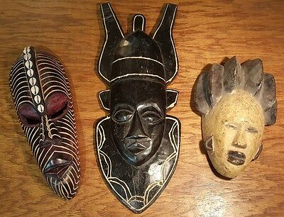 (3) Three African Primitive Tribal Hand Carved Painted Wood Face Mask Ivory Coas